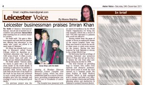 2011 Asian Voice 24dec2011_Vic Sethi Praises Imran Khan (Pakistan)1